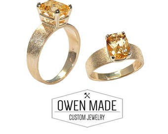 14K Yellow Gold Ring with Honey Topaz
