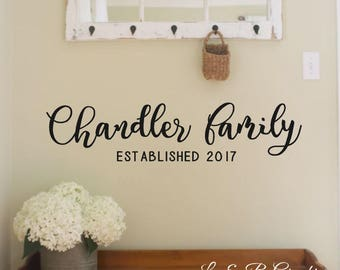 Family Name Est. #4-Last Name Sign | Wedding | Established Date | Family Established Sign | Personalized Sign-Vinyl Wall Decal