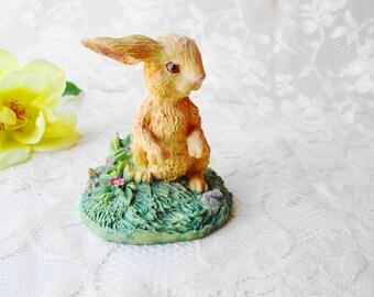 Bunny Rabbit Figure Vintage Easter Bunny Figurine Nature Animal Rabbit Standing in Grass & Flowers