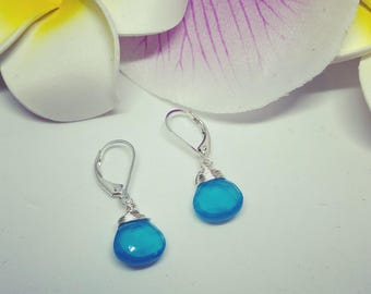 Gemstone Earrings, Silver Gemstone Earrings, Blue Earrings, Chalcedony Earrings