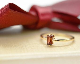 0.44CT Emerald Cut Garnet Ring, 14k Solid Gold Dainty Garnet Ring, January Birthstone Ring, Garnet Stacking Ring, Gold Gemstone Ring