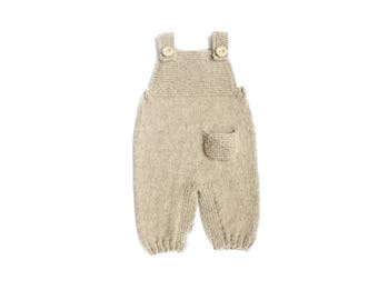Baby knit romper - Knit overall - Newborn wool longies - Alpaca pants - Baby overalls - Baby shower - Knit baby romper - Spring Chunky Gray