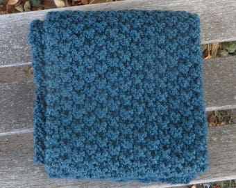 Teal Scarf, Wool Blend, Hand Knitted Mens Scarf, Womens Scarf, Textured Knit, 67 inches, Teal Blue Wool Scarf