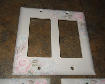 Shabby Cottage Chic Hand Painted Pale Rose Double Rocker Light Switch Cover With Blue Floral