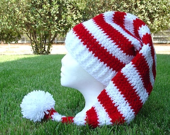 Crochet Long Stocking Cap Elf Hat Pattern