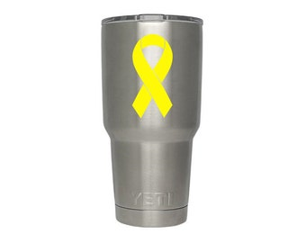 Support Our Troops Ribbon Decal, Support Our Troops Ribbon Sticker, Yellow Awareness Ribbon Vinyl Decal, Liver Cancer Awareness Ribbon Decal