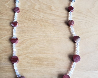 Natural stone necklace, red necklace, pearl necklace, crystal necklace, swarovski necklace, statement necklace, gifts for her