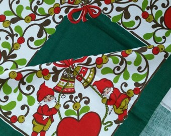 Modern Christmas Swedish print, tablecloth with  a cute elves