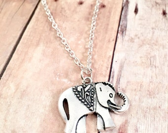Elephant charm necklace, best friend necklace, charm necklace, good luck charm, Large elephant charm, gift for her, antique silver charm