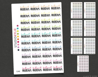 School Holidays Stickers - Repositionable Matte Vinyl to suit all planners