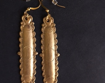Vintage Brass Mexican Inspired Charm Earrings