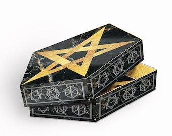 Gothic Box Pentagram  Black & Gold Card Kit