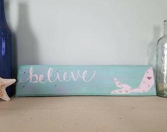 Believe Mermaid Sea Glass Wood Sign
