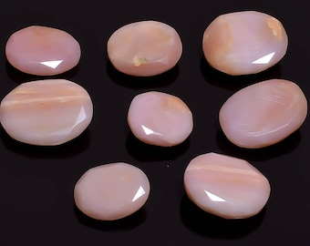 8 Pieces Lot Peru Pink Opal Faceted Loose Stones 11x13 to 14x18mm, Natural Pink Opal Gemstone Faceted Gemstones Cut Stones