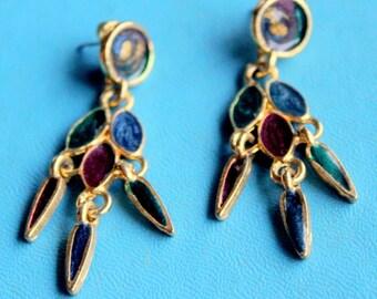 Vintage Earrings Dangle Blue green gold tone enameled pierced