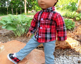 Red and Black Plaid Button-Down Shirt for 18'' American Girl Boy Doll