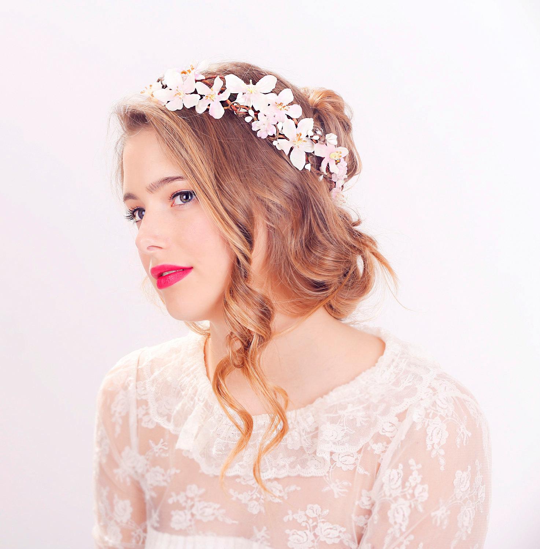 Cherry blossom flower crown wedding headpiece flower crown zoom izmirmasajfo Gallery