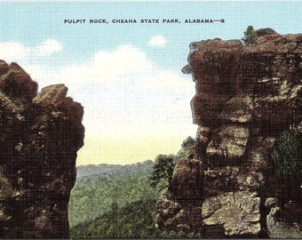 Pulpit Rock, Cheana State Park, Alabama - Vintage Postcard - Postcard - Unused (NN)