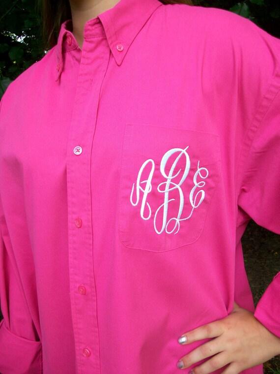 monogrammed button down shirt bride or bridesmaid 28 colors