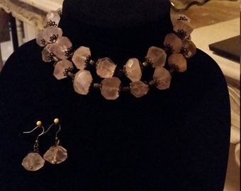 Pink ROSE QUARTZ Necklace set with earings