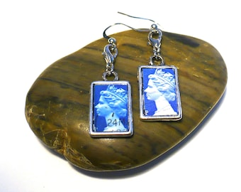 England & India Reversible Earrings Upcycled Postage Stamp Jewelry, Red Blue