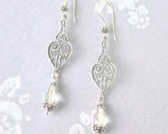 Sterling Silver Crystal Earrings ~  Vintage Scroll Wedding Jewelry for Bride, Bridal Jewellery, Gift for Her,  Bridesmaid, Birthday Bohemian