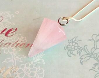 Rose Quartz Pendulum Crystal Pendulum Necklace- Crystal Healing Stone Jewelry