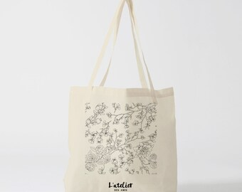 X33Y Tote bag flowers branches, bag canvas, cotton bag, diaper bag, purse, tote bag, shopping bag, gift for coworker