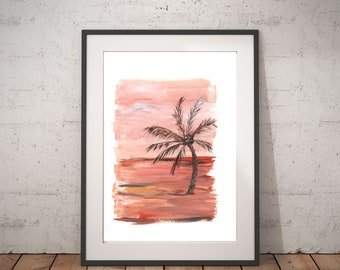 Tropical abstract painting, Safari art, Abstract orange acrylic painting, Beach wedding couple gift, Jungle painting, Palm tree on the right