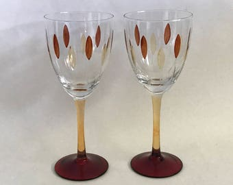 Pair STEMS, Pair Goblets, Red and Amber Stems, Vintage Barware, Couples Gift, Mardi Gras, Celebration Stems, Lenox Stems, Toasting Stems