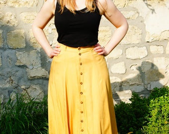 Long viscose light sunflower skirt