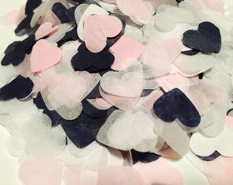 Navy, pink and white heart shaped wedding confetti - biodegradable