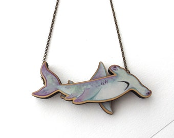 Laser Cut Friendly Hammerhead Shark Statement Necklace, an illustrated wood necklace - Ocean Mermaid Hammerhead Shark Jewellery Birch Please