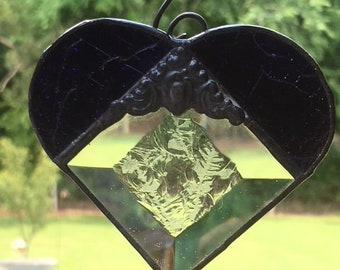 Deep purple textured glass Heart with glue chip bevel center