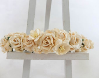 Cream ivory flower crown - rose headpiece - hair garland - floral wreath - floral headband