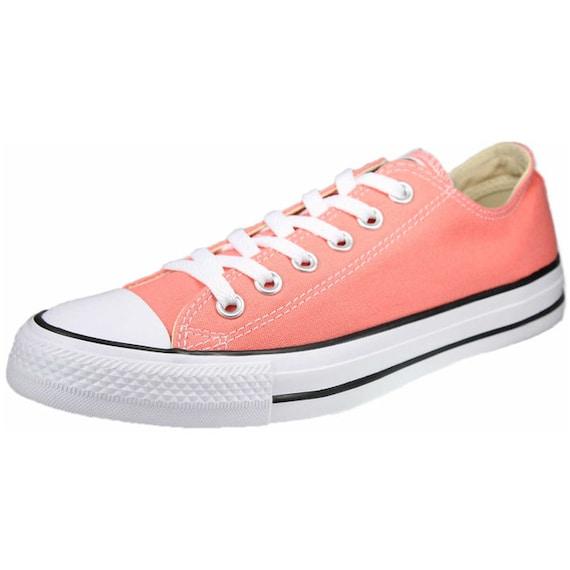 Coral Converse Low Top Peach Sun Blush Apricot Melon Custom w/ Swarovski Crystal Bling Wedding Chuck Taylor All Star Bridal Sneakers Shoes