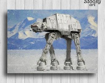 star wars at-at poster star wars watercolor gift at-at walker print at-at decor