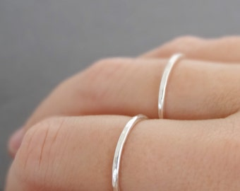 2 Sterling Silver Rings - 16 gauge - set of two stacking rings . choose your size
