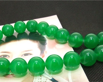 Strands 12mm green jade round bead Loose One strand