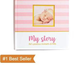 First Year Baby Memory Book for Girls | Life's Precious Moments & Firsts | First Five Years Baby Journal | Pink