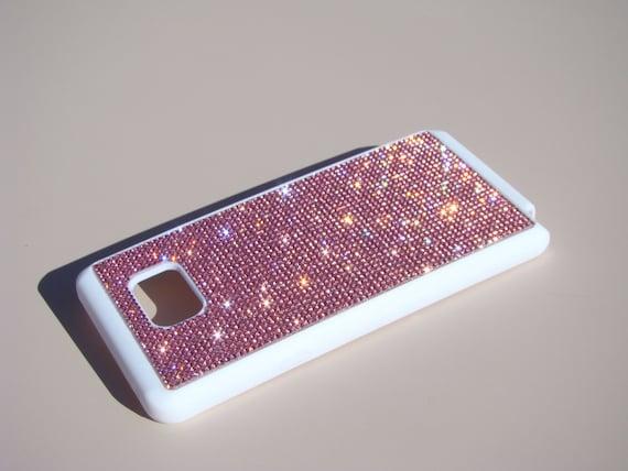 Galaxy Note 5 Pink Diamond Crystals on White Rubber Case. Velvet/Silk Pouch Bag Included, Genuine Rangsee Crystal Cases.