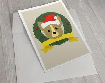 Santa Corgi Christmas Card