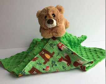 Ultra Plush and Snuggly Teddy Bear Lovey Blanket