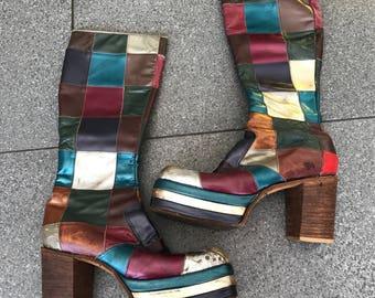 Very rare vintage 1970s patchwork glam rock metallic leather platform boots size 9 - 10 men's