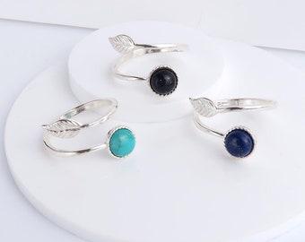 Silver Leaf Ring, Lapis Lazuli, Turquoise or Blue Goldstone, adjustable .925 sterling silver