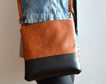 Colorblock crossbody bag / Handmade shoulder vegan leather bag / Simple crossbody purse