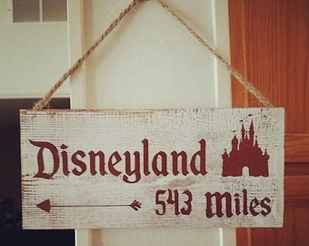 Rustic Hand Painted Personalized Miles To Disney Sign   Home Decor, Bedroom,  Living Room