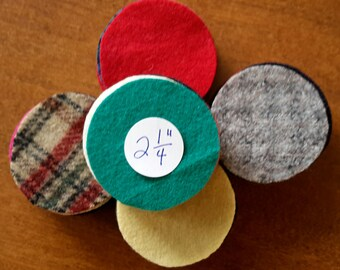 Wool Circles -- 50 - 2-1/4 inch Circles for Wool Penny Rugs -- Precut Recycled Felted Wool Circles -- Wool Pennies
