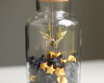 Origami Crane with Black and Gold Origami Stars, Origami Crane Flying in the Night, Origami Stars in Jar, Origami Crane, Origami Stars