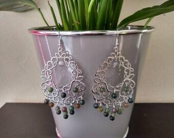 Jade bead hoop earrings
